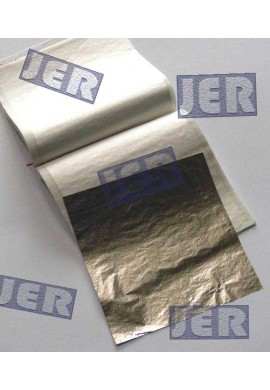 Pan de plata falsa. Librillo 25 hojas 14 x 14 cms