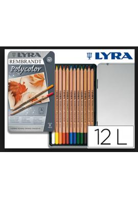 Lyra Rembrandt lápiz color 12 caja metálica