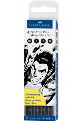 Set 4 Manga rotulador Pitt Faber negro