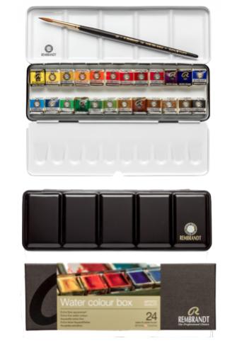 Caja metálica con 24 medio godet