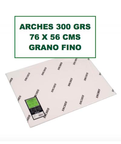 Papel Arches 300 grs 76 x 56 cms grano fino