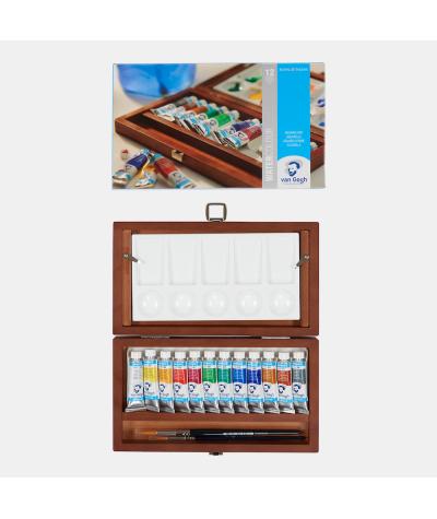 Caja madera 12 tubos acuarela Van Gogh