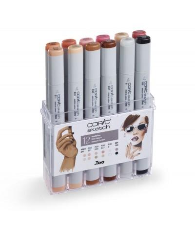 Caja rotuladores Copic Sketch 12 tonos piel