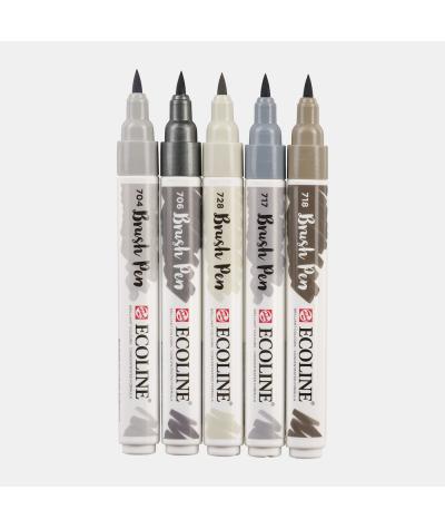 Ecoline brush pen set grises