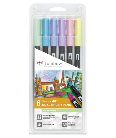 Tombow ABT 6 rotuladores colores pastel
