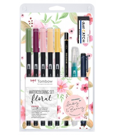 Floral set Tombow watercoloring